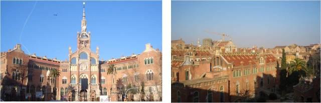 Fachada Hospital Sant Pau y vista desde el balcón