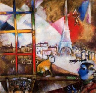 París a través de la ventana - Marc Chagall 1913 Solomon R. Museo Guggenheim, Nueva York.