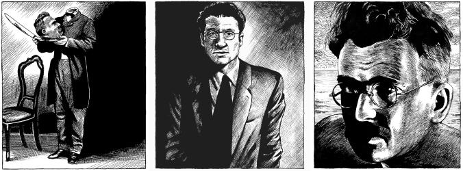 Ilustraciones Pajak: Cabeza Nietzsche, César Pavese y Walter Benjamin