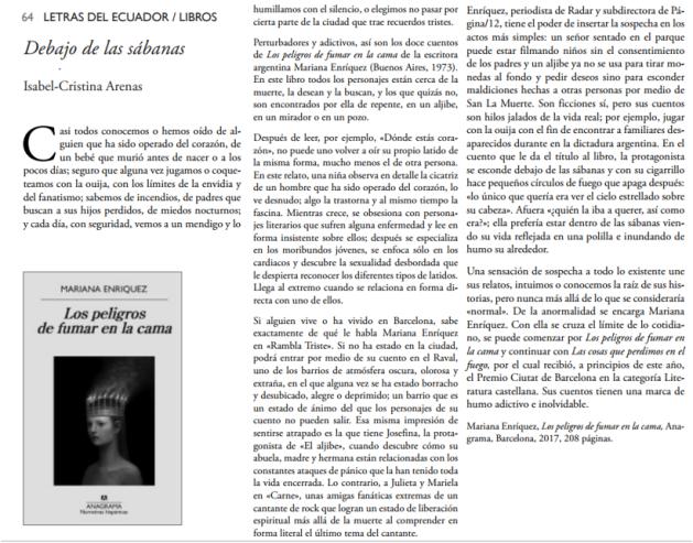 Los peligros de fumar en la cama - Mariana Enriquez - Letras del Ecuador